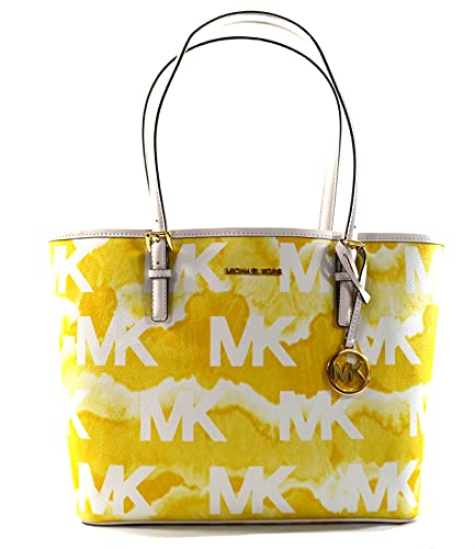 """Made of MK logo PVC with leather trim and straps Light weight and spacious Stylish and classic Outside 1 back slip pocket, inside 1 zip pocket and 2 slip pockets 13.5""""L x 10.5""""H x 4.5""""D"""