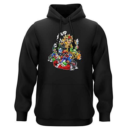 OKIWOKI Felpa con Cappuccio Nera Parodia Mario Kart - Bowser, Mario, Luigi e Yoshi - (Felpa con Cappuccio di qualità Premium in Taglia 4XL - Stampata in Francia - RIF : 785)