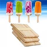 Freenfitmall Palillos de helado, palillos de madera para piruletas, palitos naturales para helados o tartas y manualidades para niños (50 piezas)