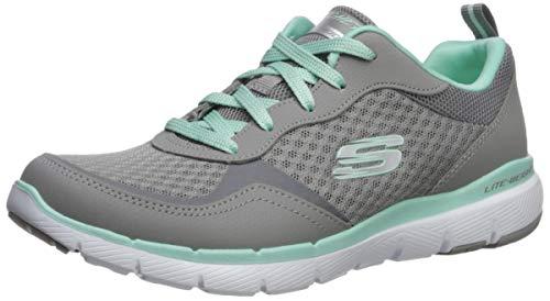 Skechers Womens Flex Appeal 30 go Forward Trainers Grey Gray Leather Mesh Mint Trim Gymn 5 UK