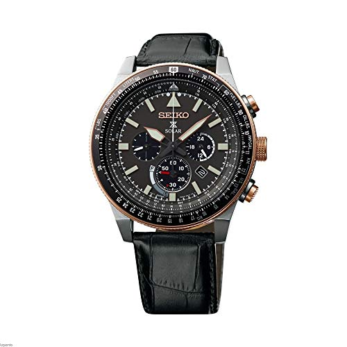 Seiko Mens Chronograaf Zonne-energie Horloge met Lederen Band SSC611P1