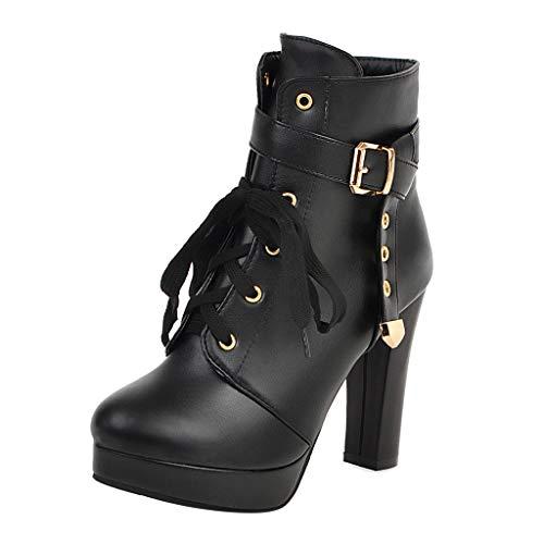 WUSIKY Stiefeletten Damen Bootsschuhe Boots Geschenk für Frauen Winterstiefel Seitliche Reißverschlussschnalle Ankle Bare Boots Lässige Short Tube Booties
