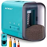 Colored Pencil Sharpener, Electric Pencil Sharpener for Kids, Handheld Pencil Sharpener for Colored Pencils/No 2 Pencils φ6-10mm, 3 Sharpness Settings, AA Batteries Operated, Blue