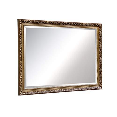 Kapperszaak mirror WC Spiegel, Retro Rechthoekige Polymer Frame Slaapkamer mediterrane stijl badkamer Hotel Opknoping grote spiegel Kapsalon kapperszaak spiegel (Color : Brown, Size : 19.7 * 27.5in)