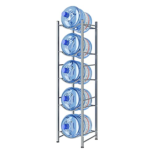 AIYAKA 5Tier Water Cooler Jug Rack,Water Cooler Jug Holder Storage, 5-Gallon Water Bottle Storage Rack Detachable Heavy Duty Water Bottle Cabby Rack for Home, Office Organization(Silver gray)