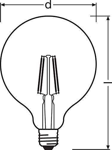 Osram LED Star Classic Globe, in Ballform mit E27-Sockel, Nicht Dimmbar, Ersetzt 60 Watt, Filamentstil Klar, Warmweiß – 2700 Kelvin, 1er-Pack - 13
