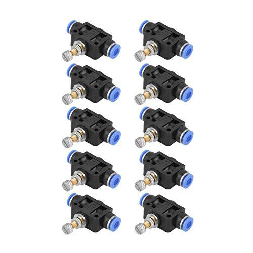 Controlador de velocidad de flujo de aire - 10 piezas/juego Controlador de velocidad de empuje Conector de válvula de control de flujo de aire neumático de 6 mm
