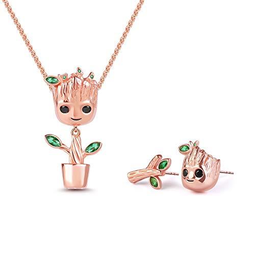 GNOCE Juego de collar y pendientes con colgante 'I am Groot Tree Man de plata de ley y oro rosa para mujeres y hombres