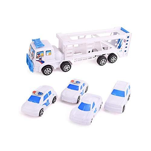 tJexePYK Doppel Trompete LKW mit 4 Mini Polizeiautos für Kinder Kid Age 3 Perfekte Spielzeug-Geschenk-kreatives Spielzeug