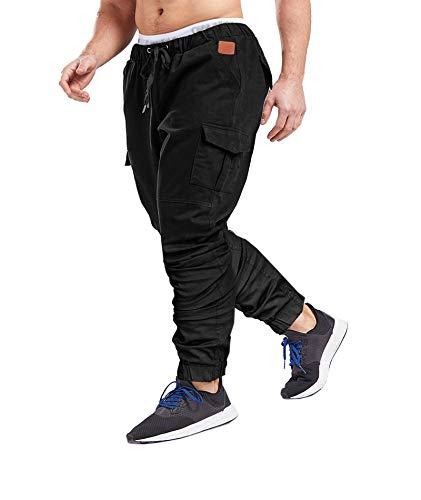SOMTHRON Herren Elastische Taille Gürtel Baumwolle Jogging Sweat Hosen Plus Size Mode Lange Sports Cargo Hosen Shorts mit Taschen Joggers Activewear Hosen, Black, XL
