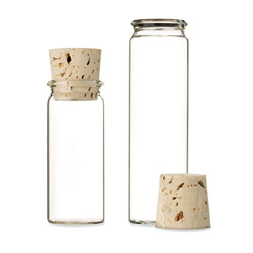 Tuuters 25 reageerbuisjes van laboratoriumglas met natuurlijke kurk | rolrand ✓ glazen flesjes voor gastgeschenken ✓, 20ml - 75 x Ø 24mm, 25