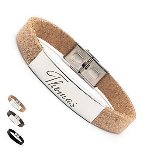 Personalisierbare Armbänder | Armband Leder mit Gravur | Personalisiertes Armband aus echtem Leder | Armband mit Wunschgravur