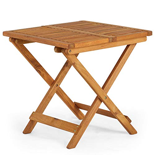 Vonhaus Adirondack Side Table, Garden/Patio/Conservatory Wooden Outdoor Folding Side/Snack Table, Ideal for Hardwood Decking