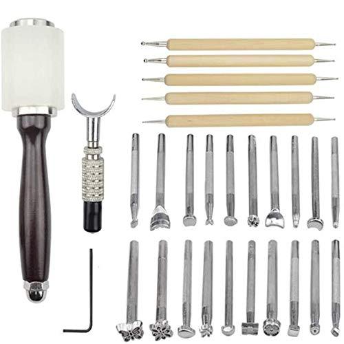 Opaltool 27-teiliges Leder-Prägewerkzeuge, manuelles Handwerk, Schnitzset, verschiedene Formen, Stempel, Set zur Sattelherstellung, DIY Stanzer, Holzhammer