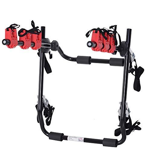 homcom Portabici Posteriore per Auto capacità 3 Biciclette 40 kg Pieghevole in Metallo e Alluminio, 68x52x60 cm