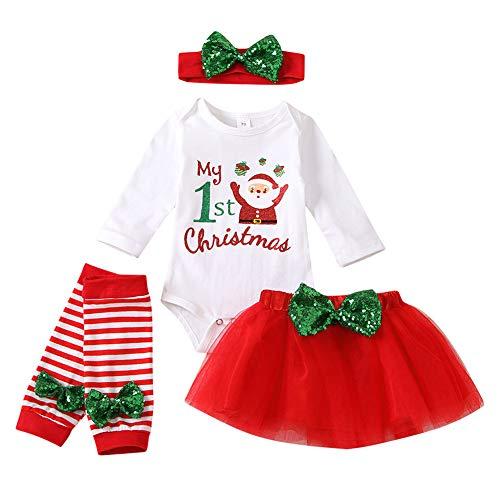 Xifamniy Baby Girls My 1st Christmas Outfit Newborn 4Pcs Bodysuit Headband Legging Socks Set (Xmas-Santa, 6-12 Months)