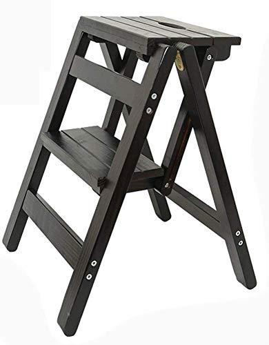 Suge Holzleiter Hocker Trittschemel 2 Schritt Massivholz Leitersprosse Stoolousehold Multifunktionsfalte Treppen Stuhl for Erwachsene Kidsitchen Innen Tragbarer Blumen Rack/Schuh Bank/Storage Shel