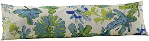 Meradiso® Renforcé Kissenbezug für Seitenschläferkissen (Beige/Grün/Blau - Aquarellblumen/Kariert, 145 x 40 cm)