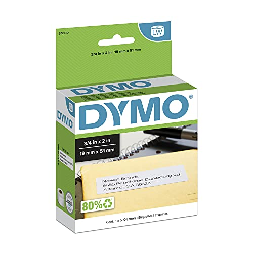 DYMO Authentic LW Return Address Labels for LabelWriter Label Printers, White, 3/4'' x 2'',1 roll of 500