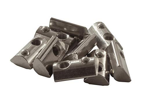 50 x Nutenstein mit Federkugel M6 NUT 8 Zubehör, Befestigungsmaterial für Aluprofile und dank Feder im Profil fixierbar (verrutscht nicht)