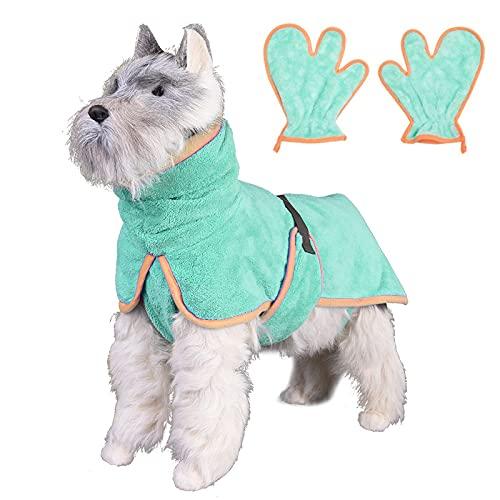 KIFFAY Toalla de baño de Microfibra de 5XL más Gruesa para Perros con Guantes para pequeñas Mantas de baño súper absorbentes de Gato de Mascotas Grandes Toalla de baño para Mascotas de Secado rápido