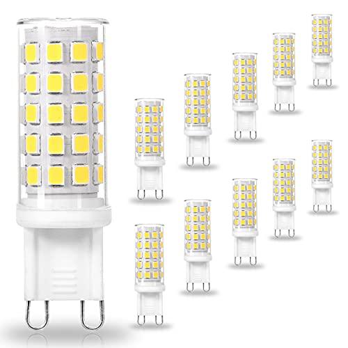 ALIDE G9 Led Bulbs 5W 6000K Daylight Cool Bright White,50W-60W Halogen Equivalent, AC120V T4 G9 Bi-pin Led Bulbs for Chandelier Pendant Lighting,550LM,10Pack(Non-Dimmable)