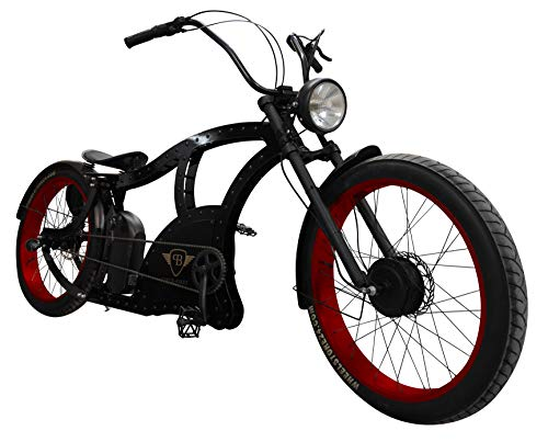 Power-Bikes, Pedelec, E-Bike 250W Fatbike, Cruiser, Fahrrad, rot, schwarz, Black, red