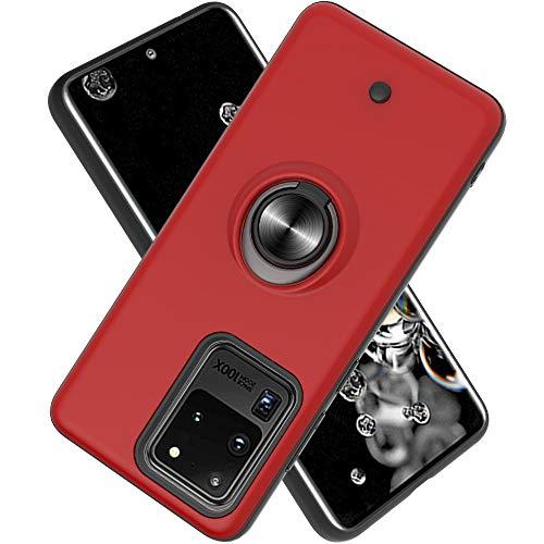 FAWUMAN Hülle für Samsung Galaxy S20 Ultra(6.9 inch mit Standfunktion, Dekomprimierungsknopf, Rotationsgyroskop, PC + TPU Handyhülle Stossfest Case -rot