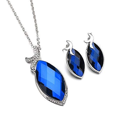 zhppac Collar Hombre Brillante Collar Conjunto de Joyas de Collar y Pendiente Collar Azul Collar de Diamantes de imitación Collar Inusual