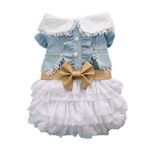 Mode Niedlichen Hund Hochzeit Kleid Rock Sommer Luxus Prinzessin Pet Kleidung Denim Rock Hundegeschirr Kleid Haustier Kleidung - Blau & Weiß S