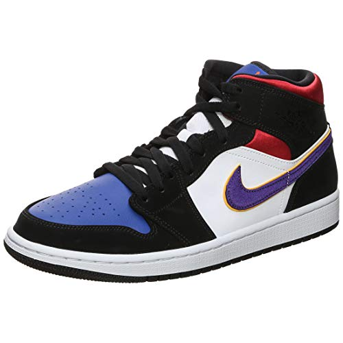 Nike Air Jordan 1 Mid SE, Scarpe da Basket Uomo, Nero (Black/Field Purple/White/Gym Red/Rush...