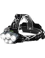 Ultrakrachtige Hoofdlamp Oplaadbaar - Hoofd Zaklamp – Militaire Lamp - Vislamp – Werklamp - ABS - 10 cm x 10 cm x 10 cm - Zwart - 1 Stuk -Waterdicht - USB Oplaadbaar - 5000 Lumen