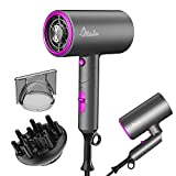 Milantia Ionic Hair Dryer, Blow Dryer with Diffuser and Nozzle, Mini Foldable Negative Ion Hairdryer for Home and Travel - 3 Heating / 2 Speed / Cold Settings