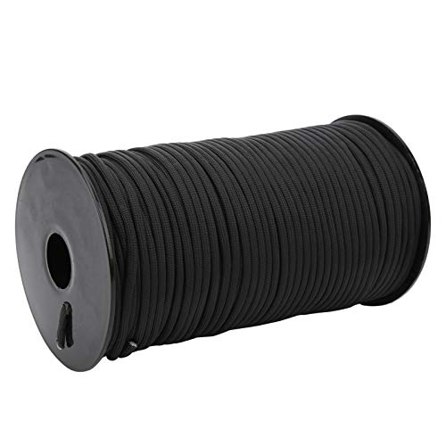 Alomejor Outdoor Climbing Rope 4mm/0.2in Tent Rope Climbing Rappelling Rope Portable Paracord Rope Clothesline Hanging Tent Line 100m/328ft (black)