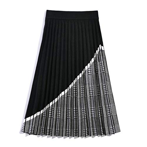 XYZMDJ Checked Long Sweater Ladies Pleated Skirt, Autumn and Winter Thick A-line Skirt Knitted Sweater Skirt Women