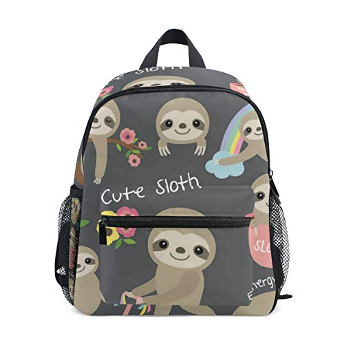 ISAOA Cute Baby Sloth Children's Backpack for Boys Girls,Kid's Schoolbag for Kindergarten Preschool Toddler Baby Nursery Travel Bag with Chest Clip