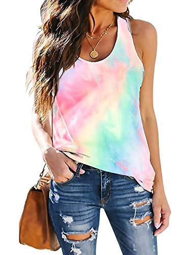 CUQY Women's Yoga Workout Tank Tops Cute Printed Loose Fit Running Exercise Tie-Dyed T-Shirt(CQ0025-Pink Tie Dye-L)