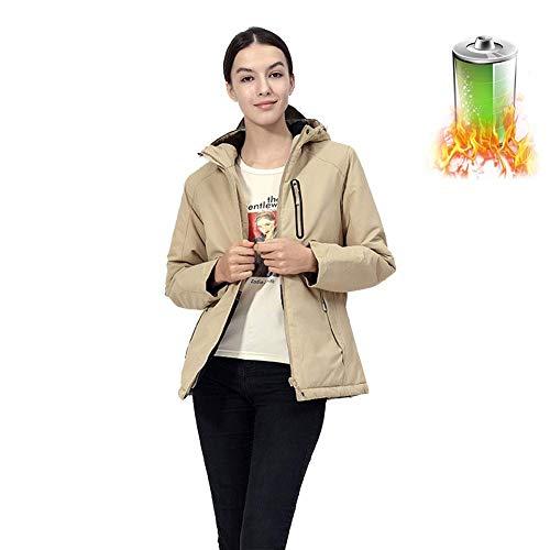 YANJ Frauen Beheizte Jacke Winterjacke Beheizte Mantel mit Kapuze und wasserdicht und Winddicht Jacke Soft-Shel (Color : Khaki, Size : XL)