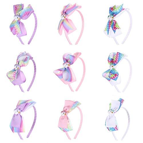Lurrose 9 stks Kids boog hoofdband strik hoofdband strik lint meisjes handgemaakte kopstuk haaraccessoires
