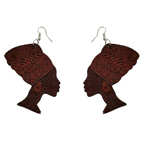 Zonfer Regalos De La Joyería del Oído 1 Par De Madera Geométrico Pendientes De Turbante Africano Mujer Principal Cuelga Gancho del Pendiente