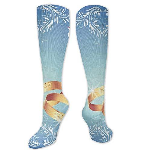 Personalizado Unisex, marco de adorno y dos palomas voladoras corazón formas de anillos de boda, calcetines altos hasta la rodilla Cool Sport Viajes medias largas 50cm
