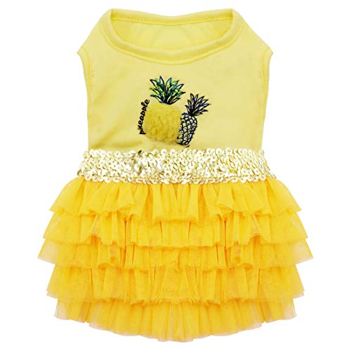 kyeese Dog Dress Pineapple Yellow Tiered Dogs Beach Dresses with Sequins Cat Dress