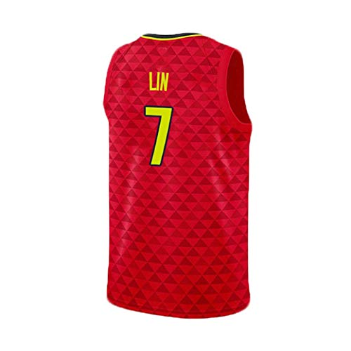 7 Jeremy SHU-Wie Lin Atlanta Hawks Uniformes NBA Herren-Basketball-Anzug Set (Color : Red, Size : XS)