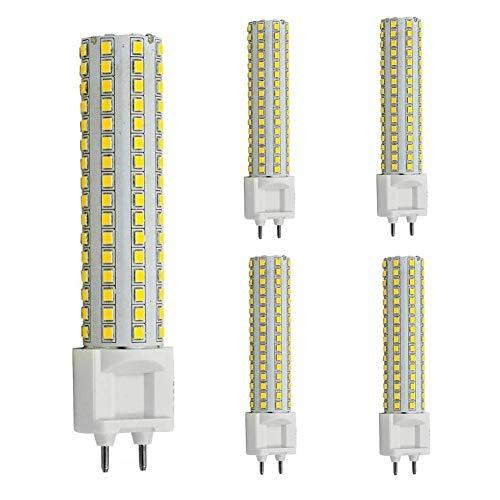 Bombilla LED G12 G12 Bombillas de maíz con base de dos clavijas, candelabro LED de 15 W, bombilla de haluro metálico G12 de 150 W, equivalente, para lámpara de almacén de garaje de calle, paquete de 5