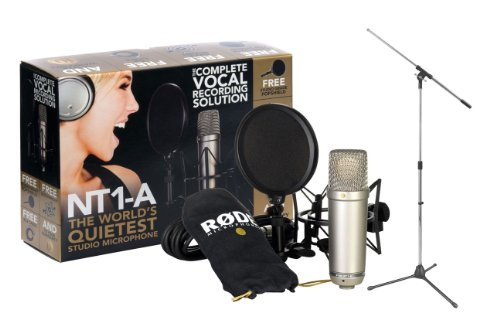 Rode NT1-A Cardioid Condenser Microphone Recording Package with a Tripod Base Microphone Floor Stand - Black