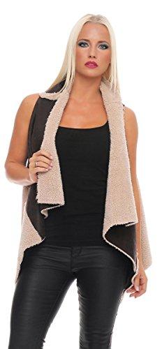 Fashion4Young 10756 Damen Relaxte Kunstlammfell-Weste Winterweste Poncho Jacke (34 36 38, Dunkelblau-Beige)
