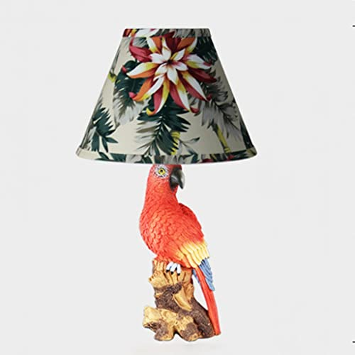 ZCCLCH American Retro pastelería pequeña lámpara de mesa Dormitorio Resina Tela Lámpara de cabecera Estilo Europeo Salón Simple Iluminación moderna Creativa Moda Red Parrot Decoración