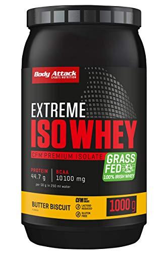 Body Attack Extreme Iso Whey, Whey Protein Pulver zum Muskelaufbau aus 100% irischer Weidemilch, fettarmes Eiweißpulver ohne Aspartam (Butter Biscuit, 1 kg)