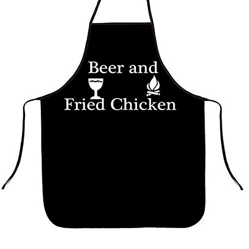 QCWN Chef Kitchen Apron- BBQ Grill Apron - Funny BBQ Cooking Baking Apron - 1 Size Fits All Beer and Fried Chicken Chef Apron, Adjustable Neck and Extra Long Waist Ties (Styel#1)