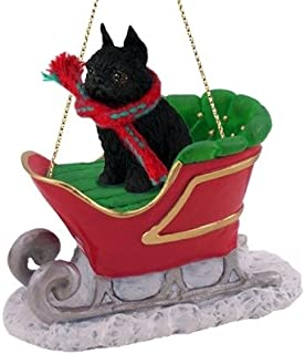 Conversation Concepts Brussels Griffon Sleigh Ride Christmas Ornament Black - Delightful!
